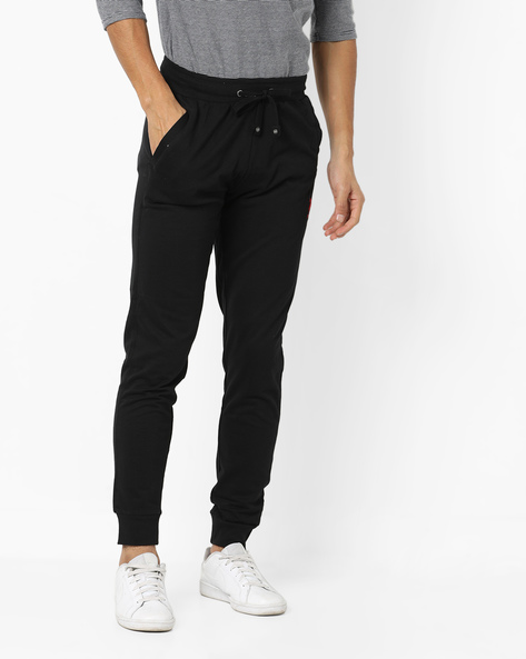 Cotton Joggers With Drawstring Waist By US POLO ( Black )