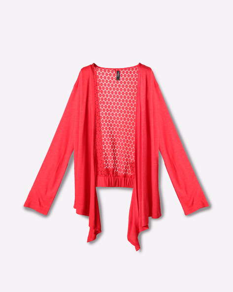 Open-Front Shrug With Drop Sleeves By RIO GIRLS ( Red )