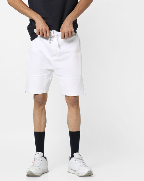 Shorts With Drawstring Fastening By AJIO ( White )