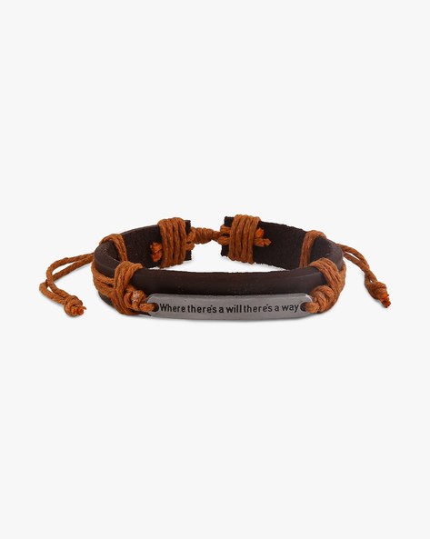 Faux-Leather Bracelet With Metallic Accent By ALPHA MAN ( Tan )