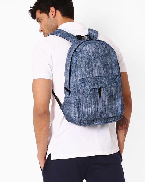 Denim Print Backpack By Chasquido ( Blue )