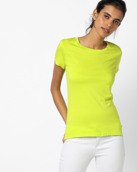 Round-Neck Top With Short Sleeves By UNITED COLORS OF BENETTON ( Printed )
