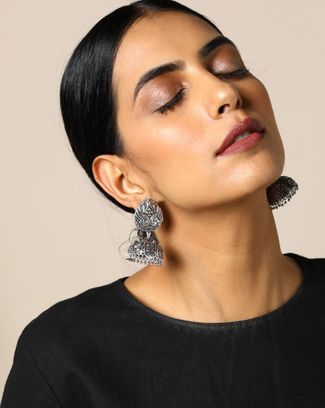 Peacock Brass Jhumka Earrings By Studio B40 ( Silver ) - 460095211001