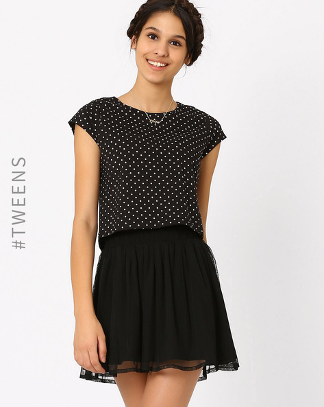 Polka Dot Print Top By AJIO Girl ( Black )