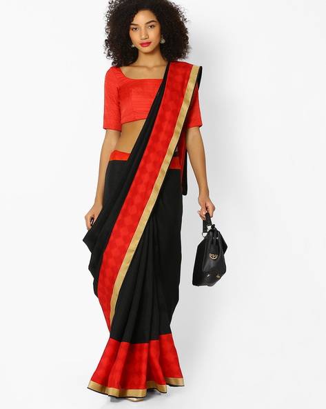 Saree With Contrast Border By Vastrangi ( Black ) - 460108500001