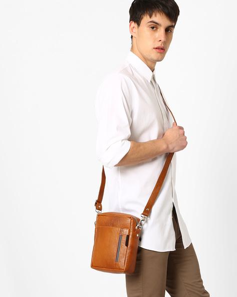 Genuine Leather Messenger Bag By Tortoise ( Lightbrown )