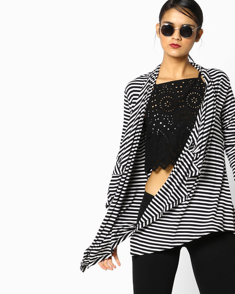Striped Shrug With Waterfall Lapel By Project Eve WW Athleisure ( Black )
