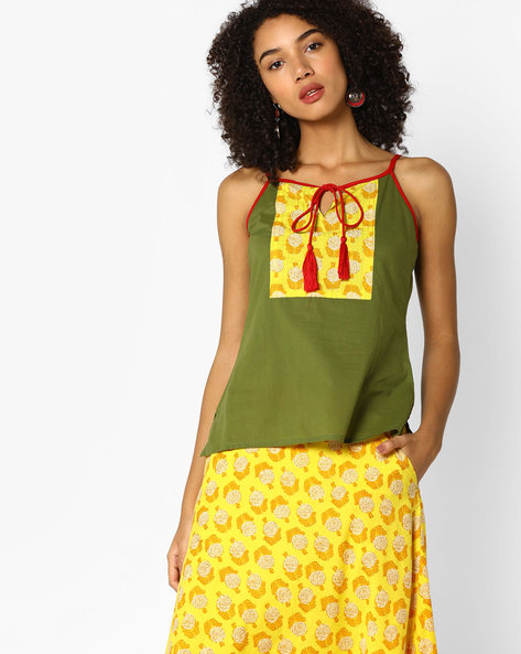 Strappy Top With Printed Panel By AJIO ( Olive )