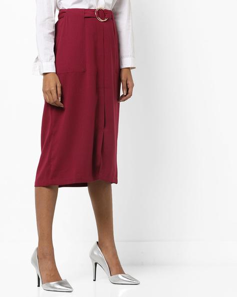 Pencil Skirt With Waist Belt By AJIO ( Burgundy )