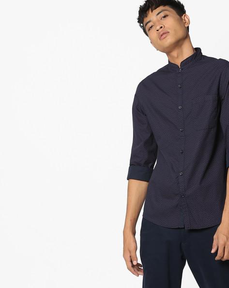 Micro Print Shirt With Mandarin Collar By AJIO ( Blue )