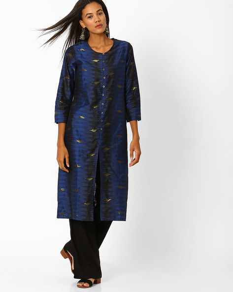 Straight Kurta With Front Slit By Global Desi ( Blue )