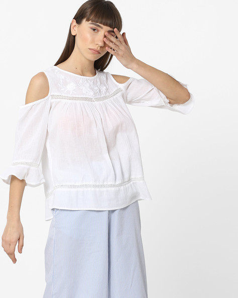 Cold-Shoulder Top With Embroidered Yoke By DNMX ( White )