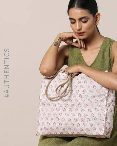 Sanganeri Handblock Print Cotton Jute Tote Bag By Awdhesh Kumar ( Pink ) - 460120539001