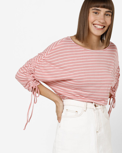 Striped Top With Shirring & Tie-Up By Femella ( Rose )