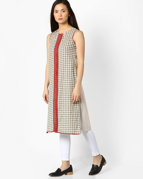 Printed Straight Kurta With Contrast Embroidered Placket By AVAASA MIX N' MATCH ( Red )