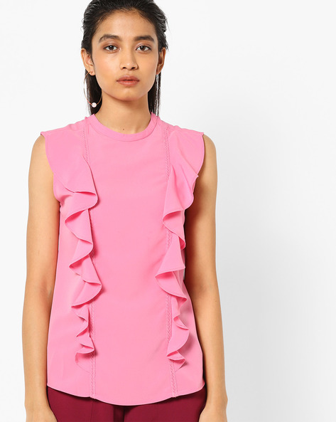 Top With Ruffled Overlay By AJIO ( Pink )