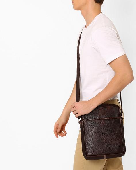 Genuine Leather Messenger Bag By TEAKWOOD LEATHERS ( Tan ) - 460053061001