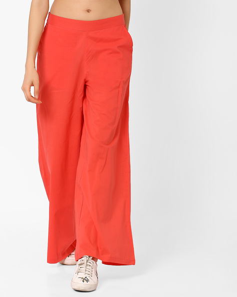 Palazzo Pants With Elasticated Waist By AJIO ( Coral )