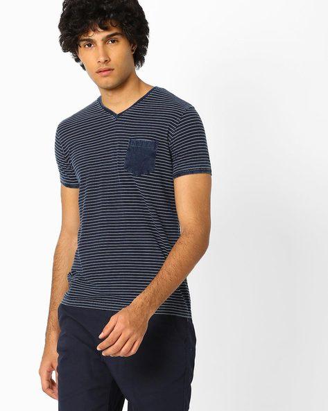 Striped V-neck T-shirt With Patch Pocket By Killer ( Blue )