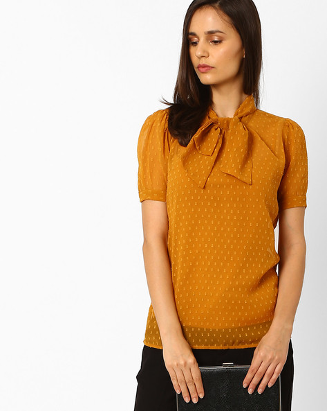Bow-Tie Top With Curved Hemline By Wills Lifestyle ( Orange )