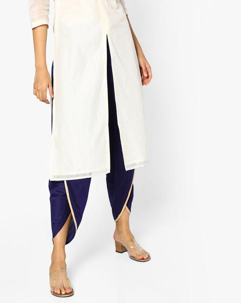 Dhoti Pants With Drawstring Waist By AJIO ( Indigo )