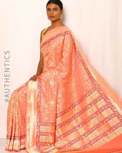Banarasi Pure Silk Katan Saree By Indie Picks ( Peach )