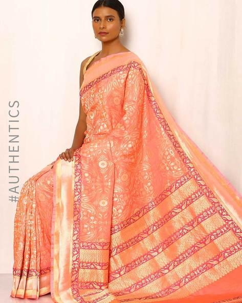 Banarasi Pure Silk Katan Saree By Indie Picks ( Peach )
