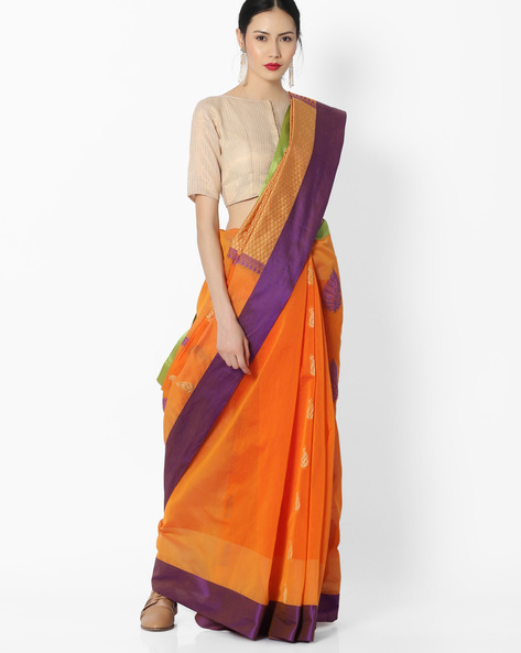 Woven Saree With Contrast Border By Amori ( Orange )
