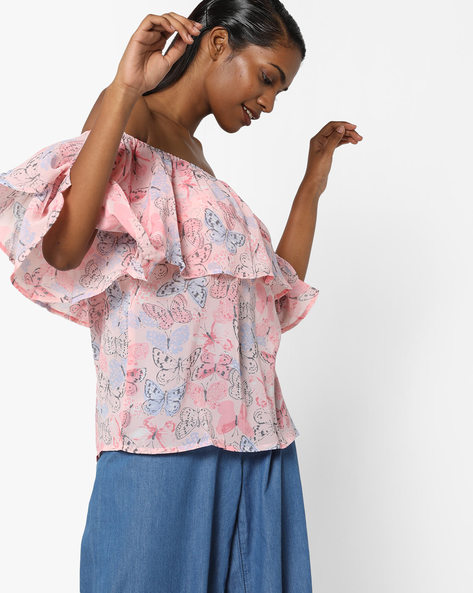 Butterfly Print Off-Shoulder Top By Sassafras ( Pink )