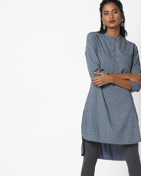 Printed High-Low Kurta By AJIO ( Blue )