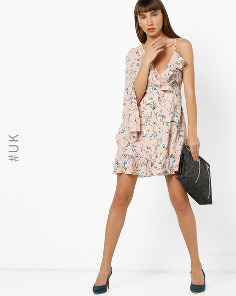 Floral Print One-Sleeve A-line Dress By OEUVRE ( Pink )