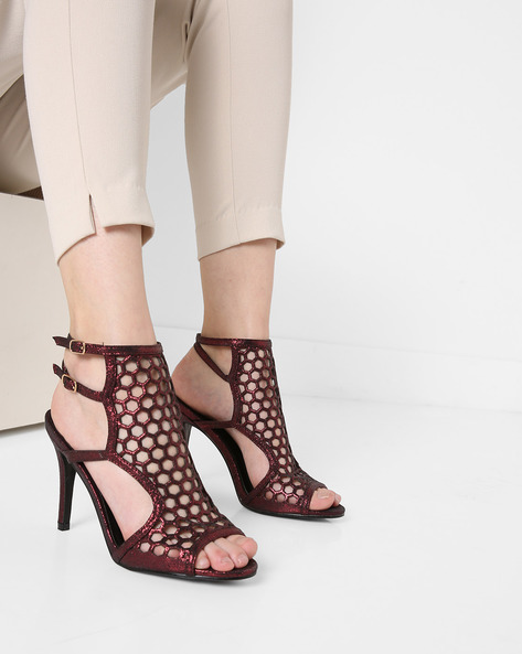 Peep-Toe Stilettos With Cutouts By AJIO ( Maroon )
