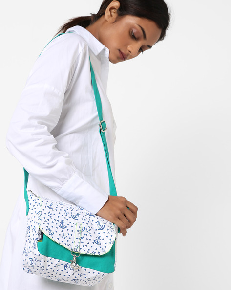 Printed Canvas Sling Bag By Kanvas Katha ( Aqua )