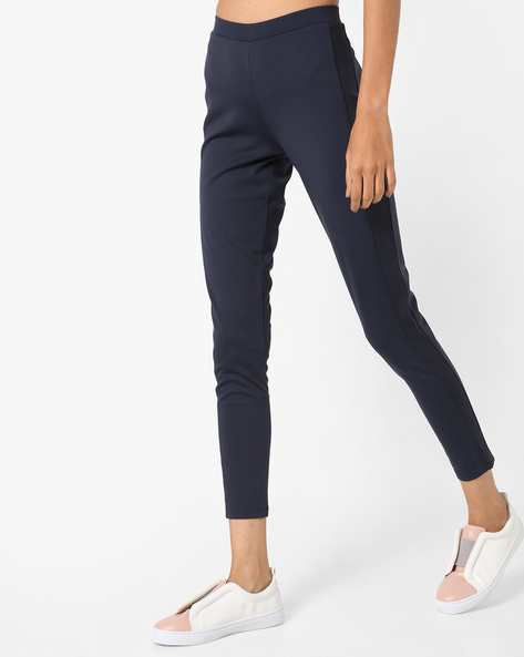 Ankle-Length Pants With Elasticated Waist By UNITED COLORS OF BENETTON ( Navyblue )