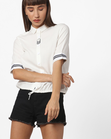 Button-Down Shirt With Elasticated Hemline By Teamspirit ( Offwhite )