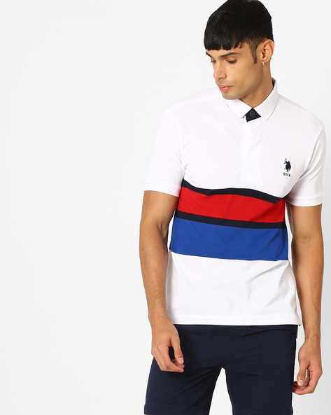 Polo T-shirt With Ribbed Hems By US POLO ( White )