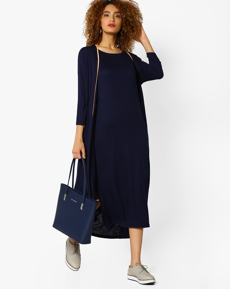 Knitted Shrug With Contrast Taping By AJIO ( Navy )