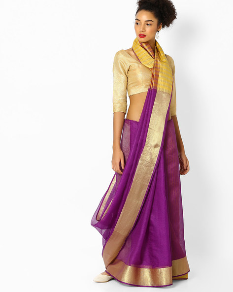 Saree With Contrast Border By Florence ( Purple )