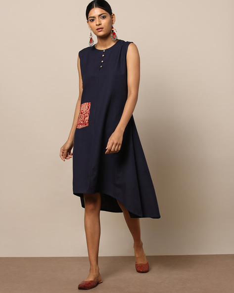 High-Low A-line South Cotton Dress By Indie Picks ( Blue )