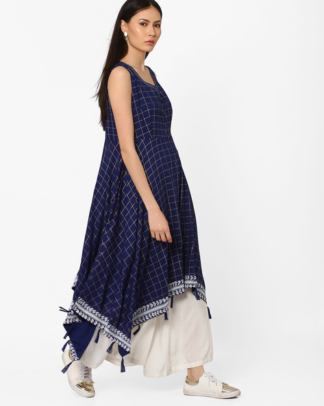 Checked Kurta With Handkerchief Hem By AJIO ( Blue )