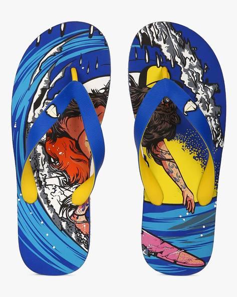 Printed Thong-Style Flip Flops By Fashion Forward ( Aqua )