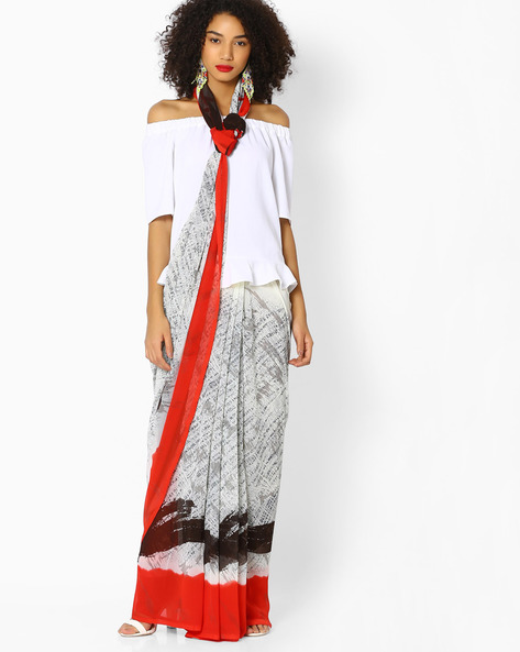 Printed Saree With Contrast Border By Vastrangi ( Offwhite )