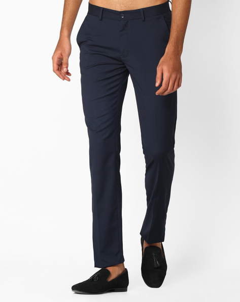 Slim Fit Flat-Front Trousers By NETWORK ( Navy )