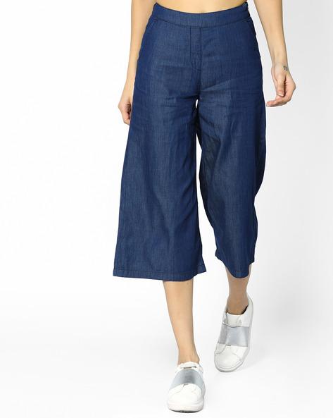 Denim Culottes With Side Zip By AJIO ( Blue )