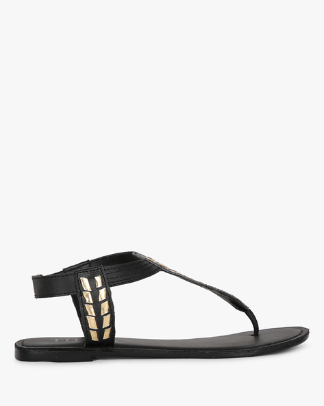 Embellished T-strap Flat Sandals By THEEA ( Black )