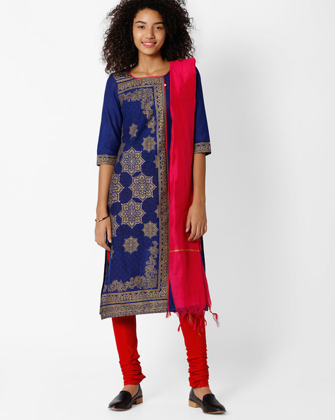 Graphic Print Straight Kurta By AURELIA ( Blue )