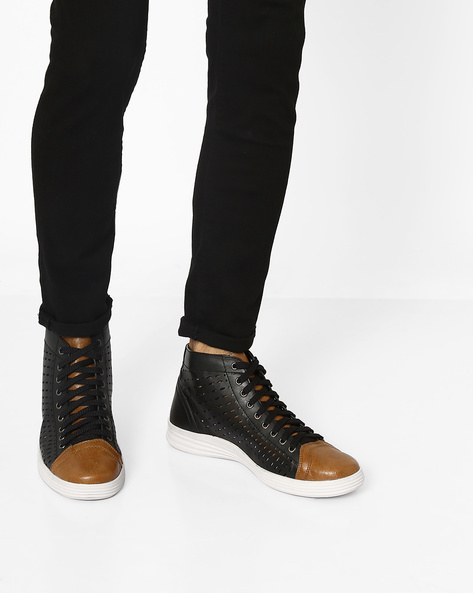 High-Top Sneakers With Cutouts By Knotty Derby ( Black )