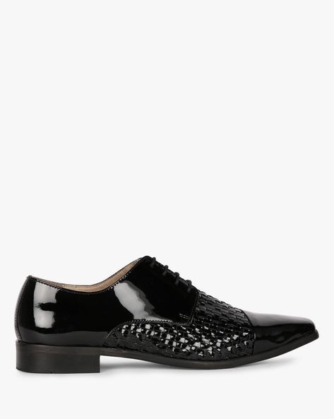 Panelled Genuine Leather Oxford Shoes By Modello Domani ( Black )