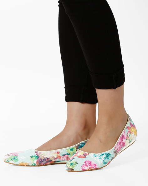 Sequinned Ballerinas With Floral Print By Jove ( Green )