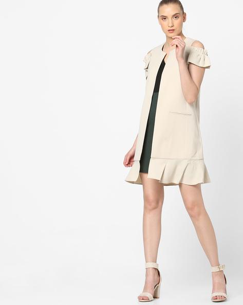 Cold-Shoulder Longline Coat By Vero Moda ( Cream )
